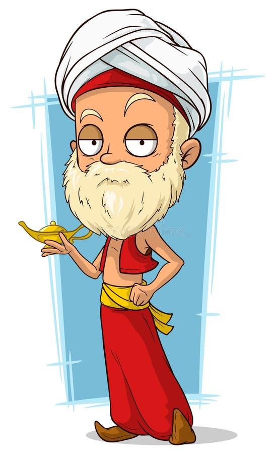 有头巾的动画片东方老人 皇族释放例证