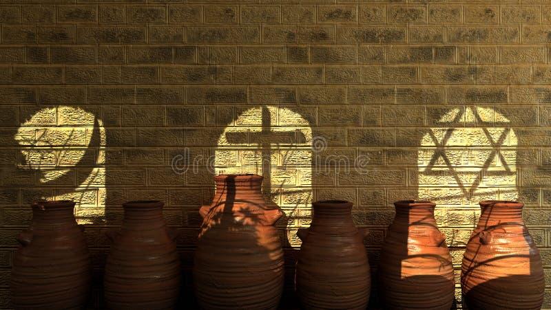 有阴影的古老石墙 向量例证