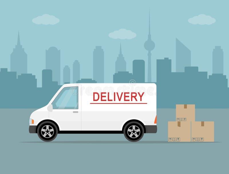 有阴影的白色送货车和在城市背景的纸板箱 皇族释放例证