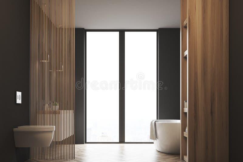 有洗手间的,黑暗的木头浴缸 皇族释放例证