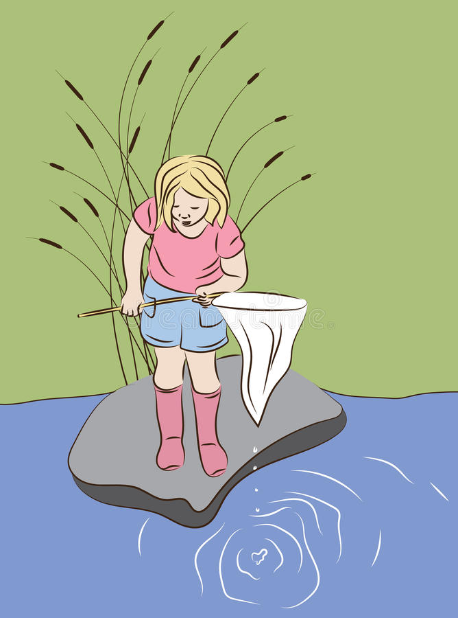 有寻找某事的捕鱼网的小女孩捉住 向量例证