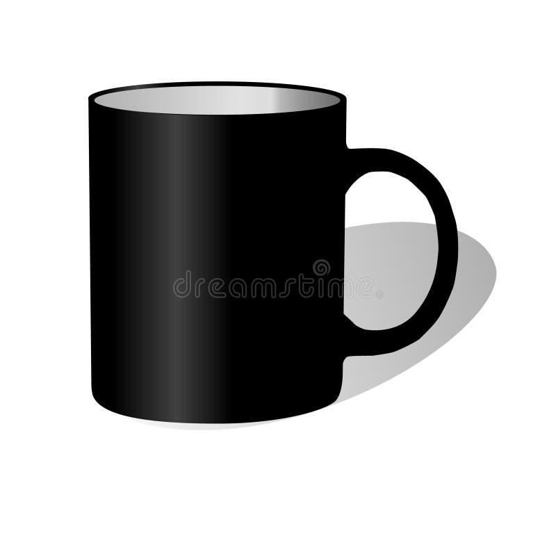 有黑把柄的黑大陶瓷杯子 库存例证