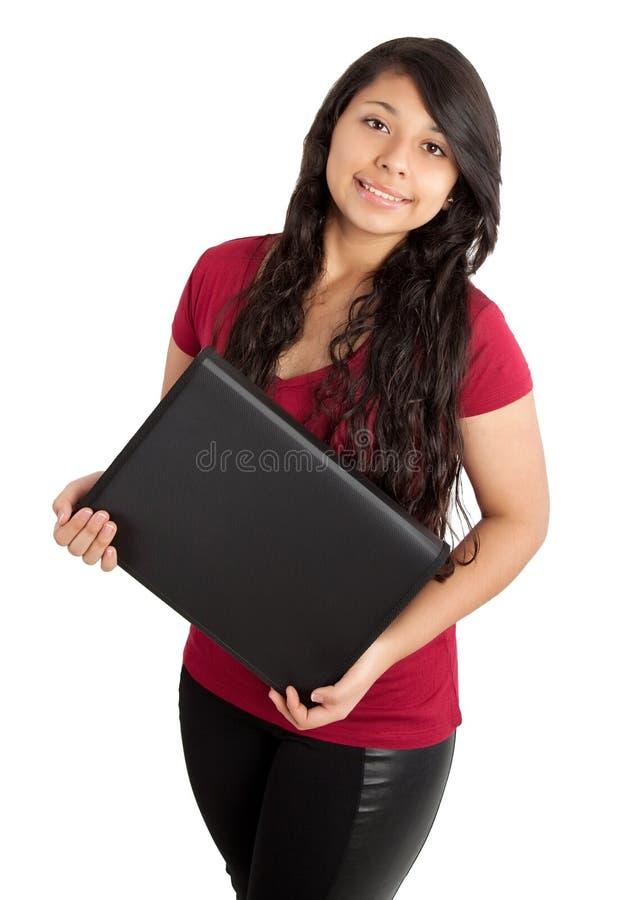 有黑文件夹的学校女孩 图库摄影