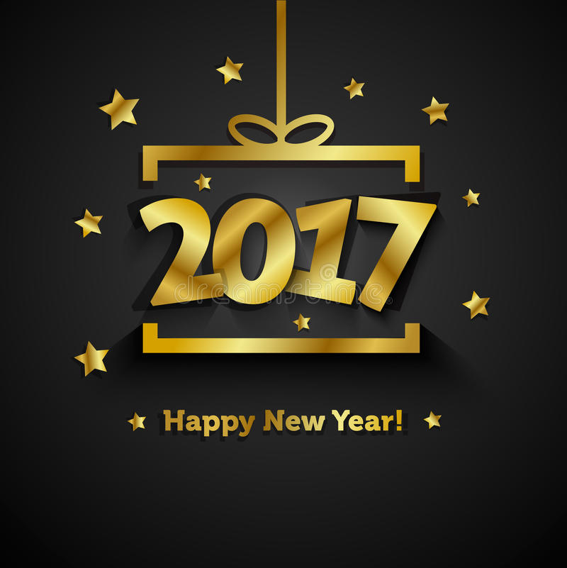有2017年新年快乐贺卡的金黄礼物盒 库存例证