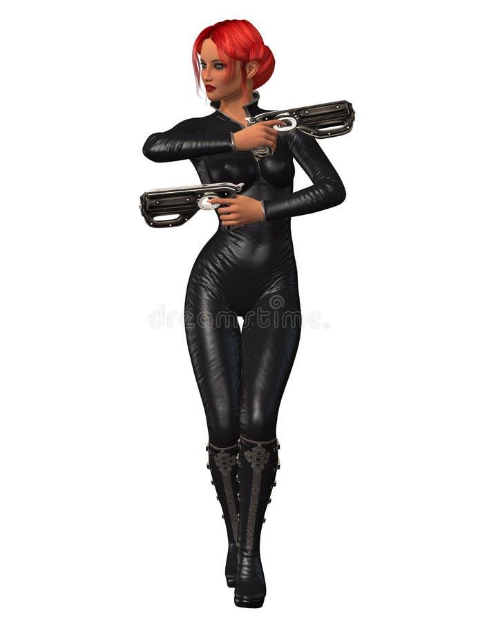 有2杆枪的女性刺客 库存例证