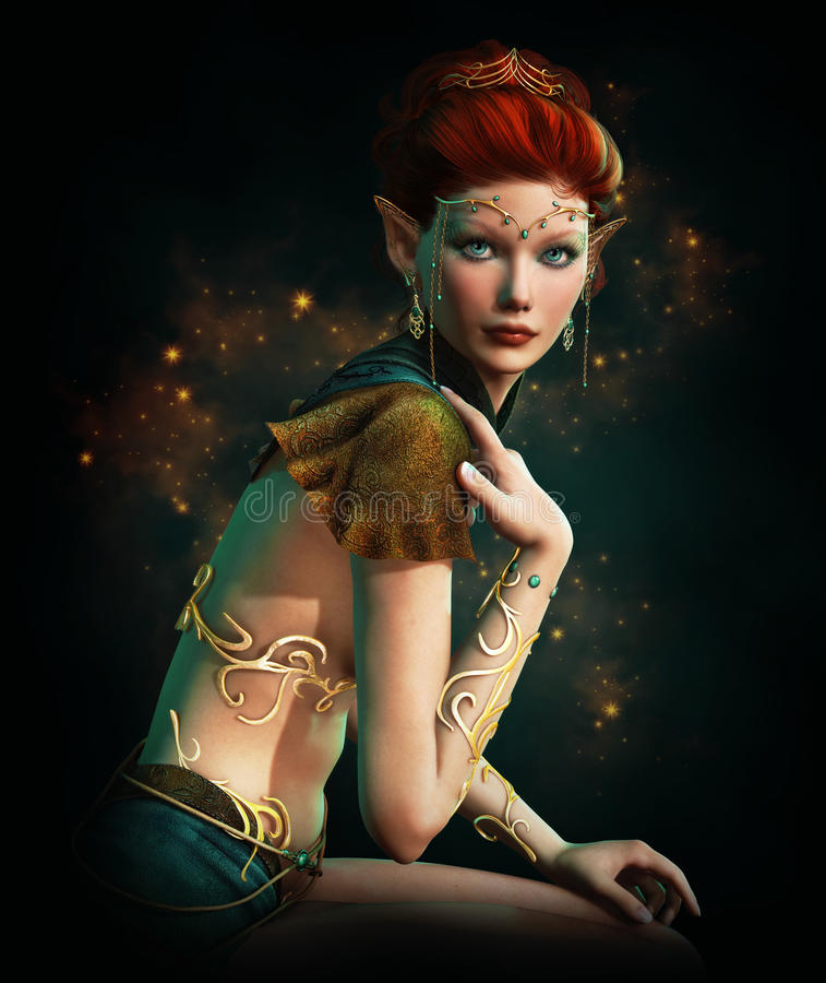 有绿松石首饰的Elven公主 库存例证