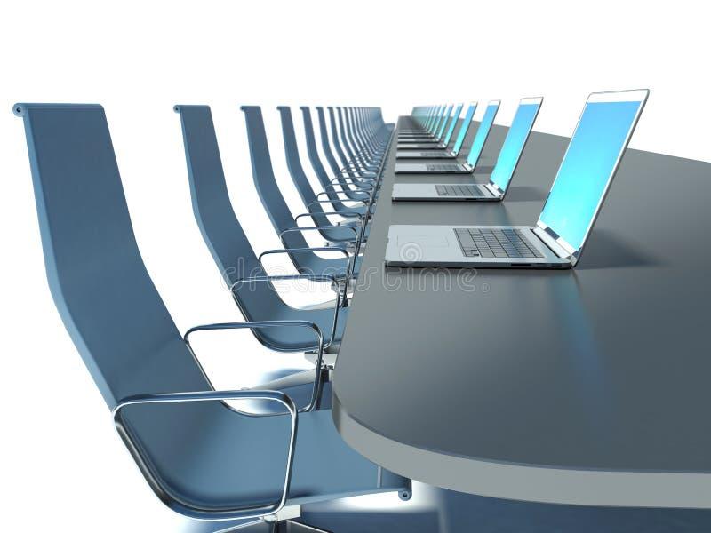 有黑桌的会议室和椅子和膝上型计算机 库存例证