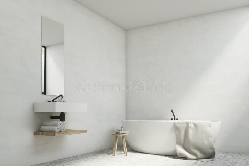 有水槽和木盆的白色卫生间 皇族释放例证