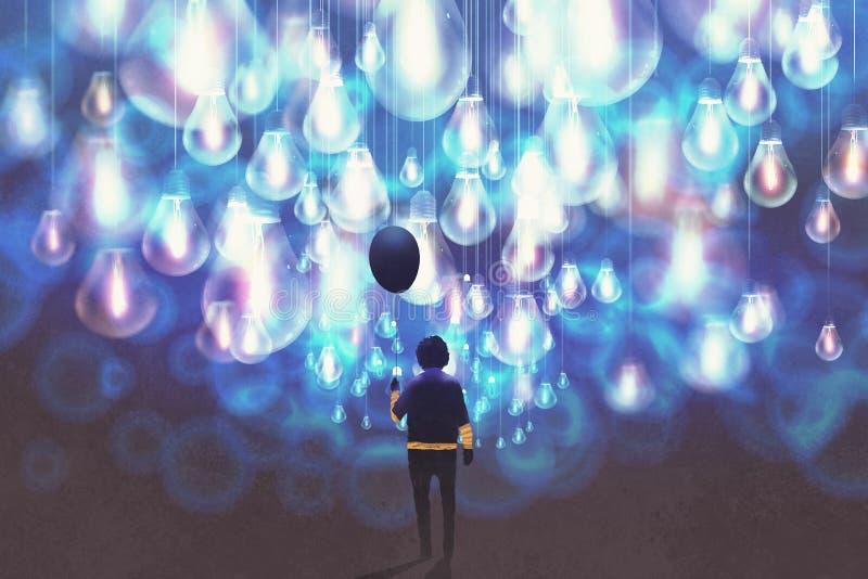 有黑气球的人在很多发光的蓝色电灯泡中 库存例证