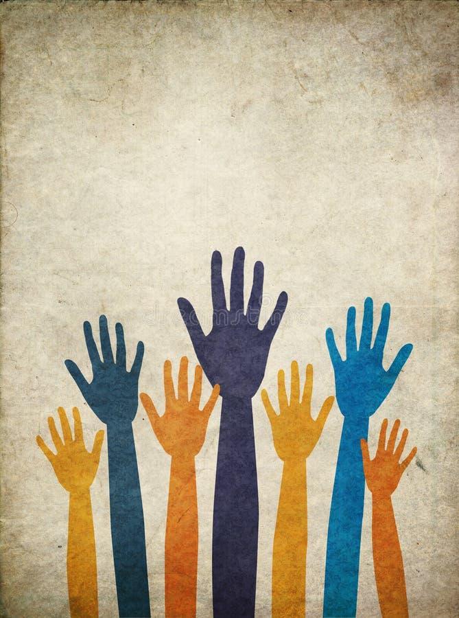 有寻求帮助的胳膊不同的肤色的手 向量例证
