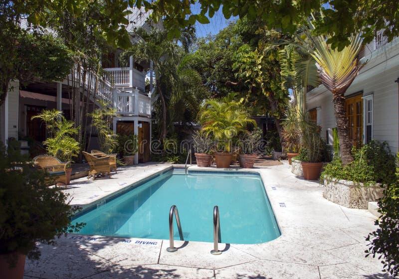 有水池的热带庭院 库存照片