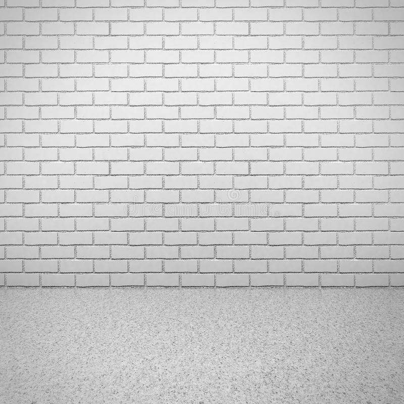 有水泥地板的白色砖墙 空的内部空间 免版税库存图片
