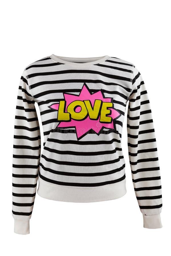 有`爱`标志的镶边毛线衣 免版税图库摄影