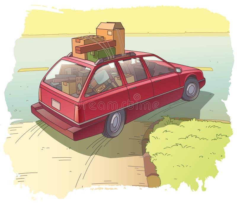 有货物的红色小型客车 库存例证