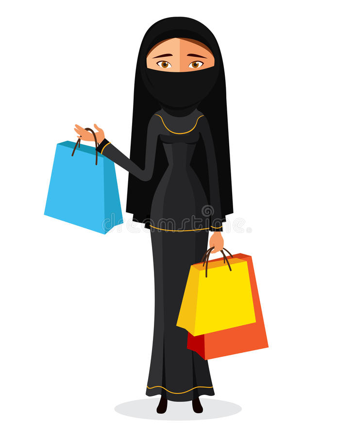 有购物袋平的动画片传染媒介例证的阿拉伯妇女 EPS10 背景查出的白色 库存例证