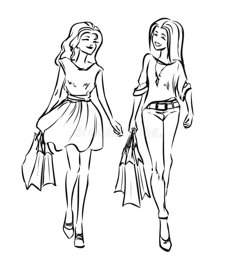 有购物袋的两个朋友女孩 皇族释放例证