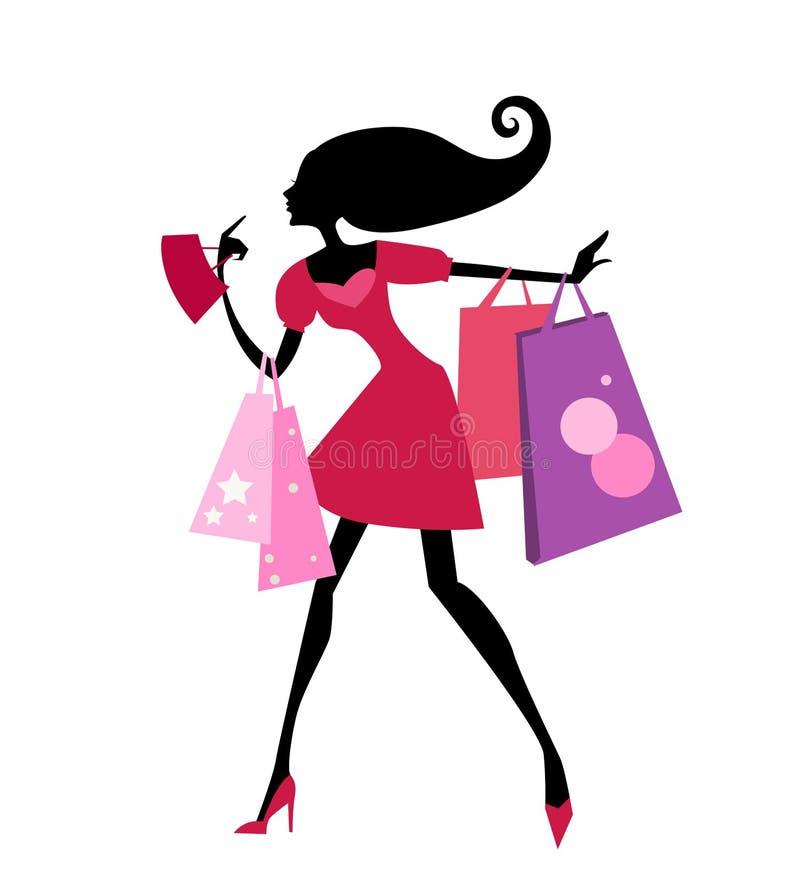有购物袋的俏丽的女孩 向量例证