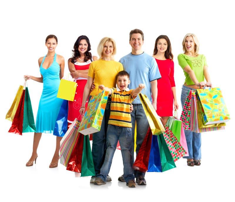 有购物袋的妇女。 库存照片