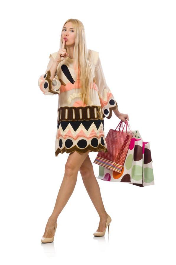 有购物袋的妇女在白色 图库摄影