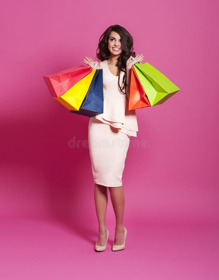 有购物袋的妇女 免版税图库摄影
