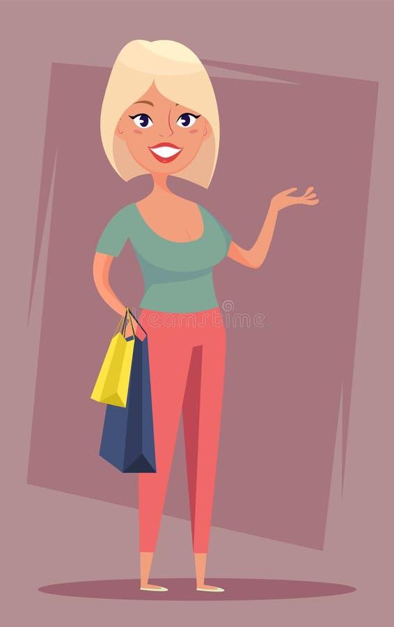 有购物袋的快乐的白肤金发的女孩 销售,买家,顾客 库存例证