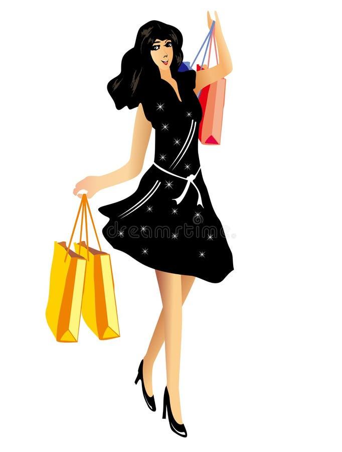有购物袋的愉快的美丽的妇女 皇族释放例证