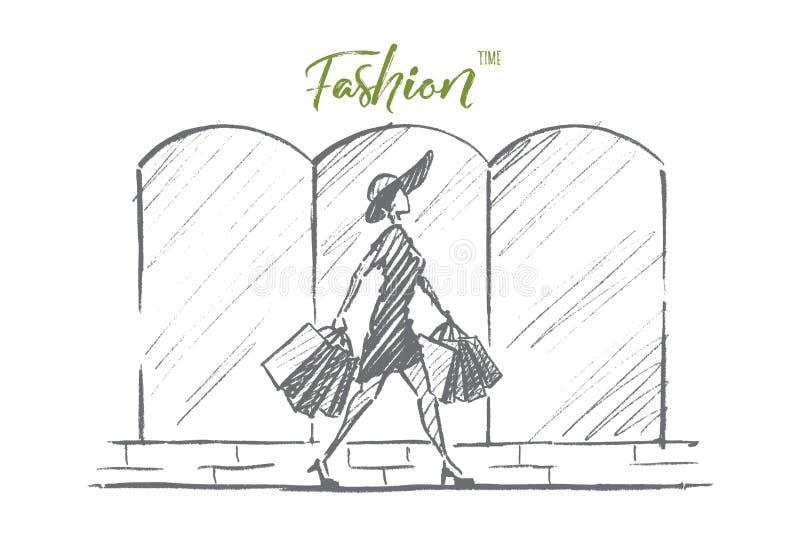 有购物袋的手拉的时髦的妇女 库存例证