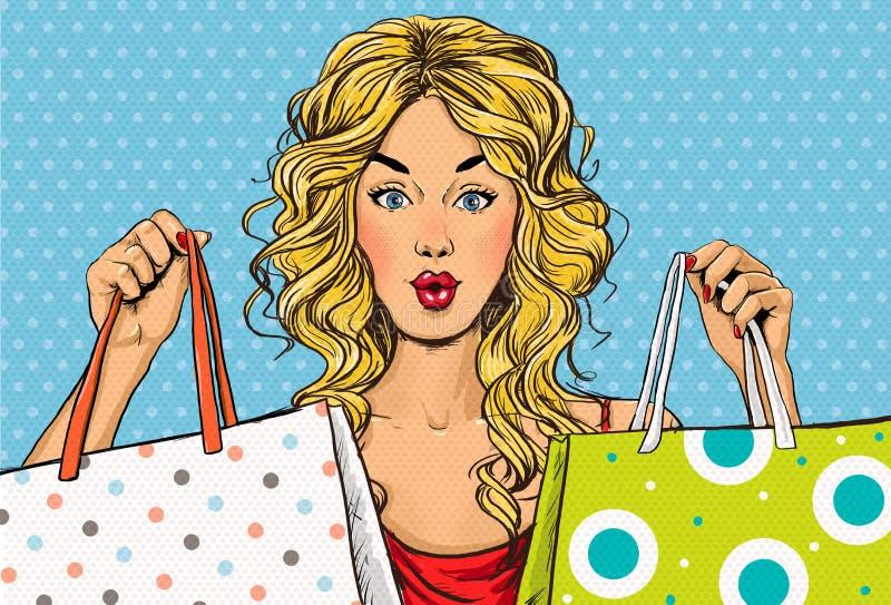有购物袋的流行艺术白肤金发的妇女在手上 背景看板卡问候页购物模板时间普遍性万维网 皇族释放例证