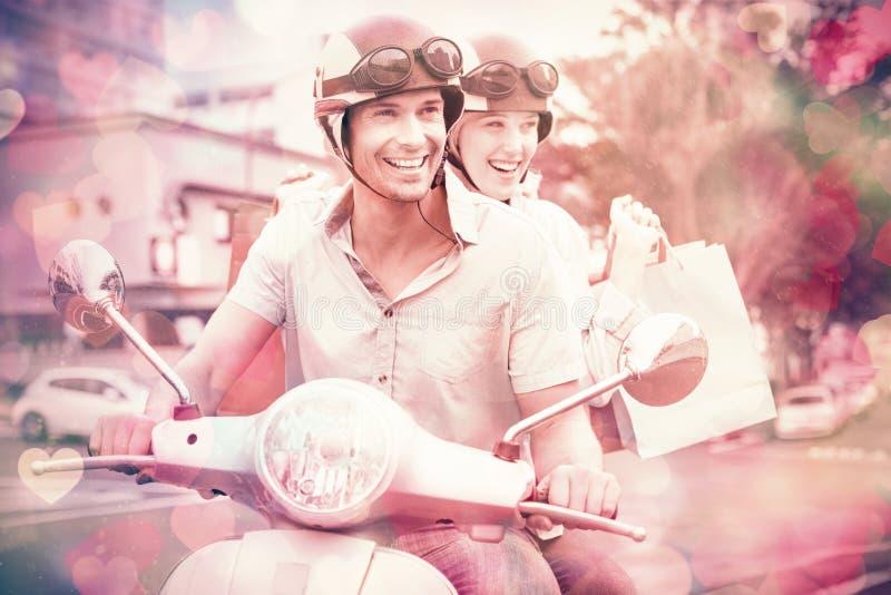 有购物袋的熟悉内情的年轻夫妇骑马滑行车 向量例证