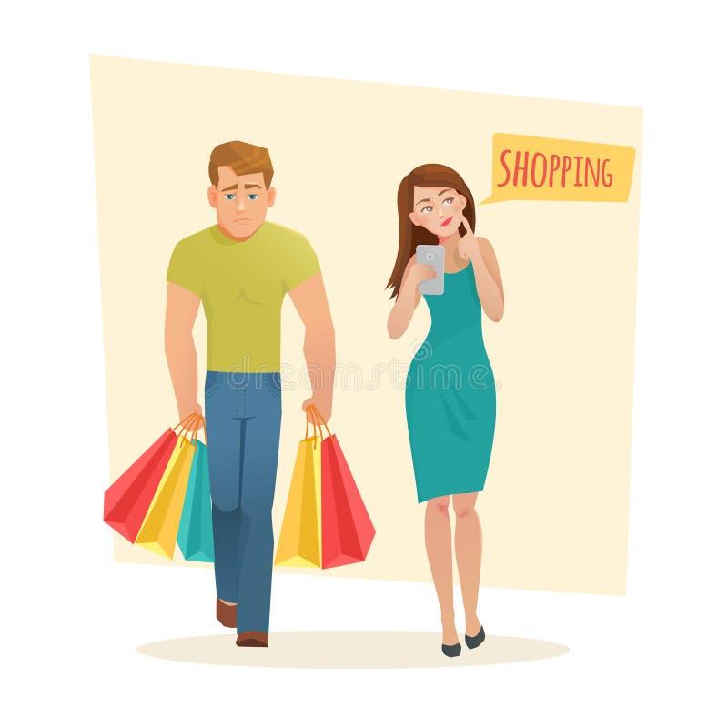 有购物袋的男人和妇女 库存例证