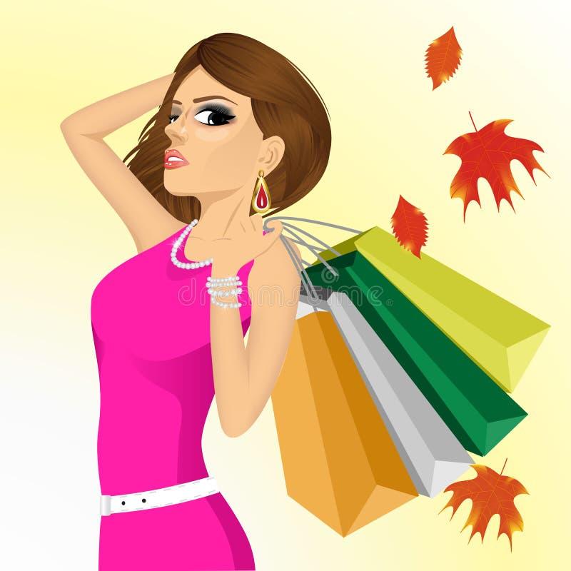 有购物袋的年轻傲慢的妇女 向量例证