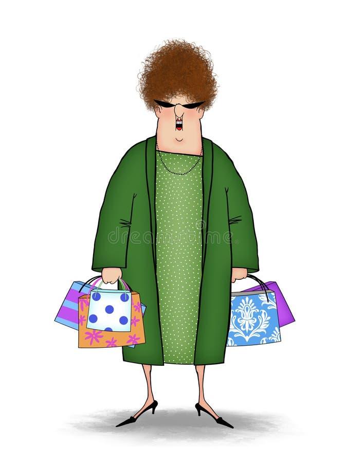 有购物袋的滑稽的顾客 库存例证