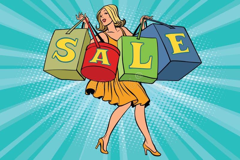 有购物袋销售的白肤金发的妇女 库存例证