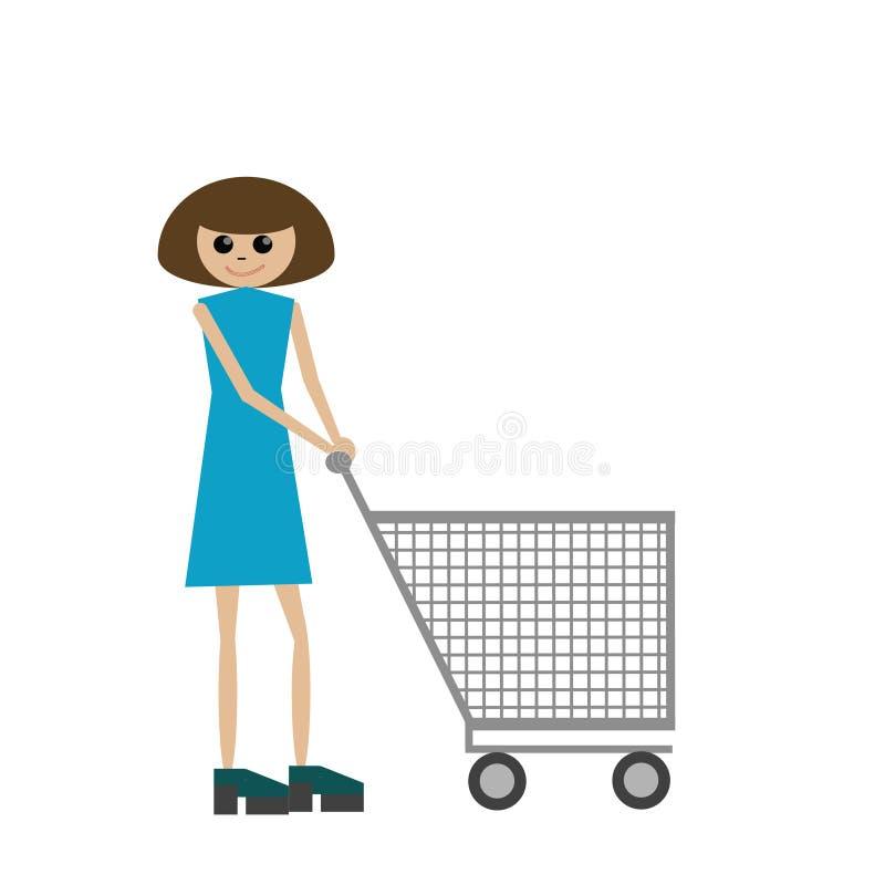 Download 有购物车的妇女 向量例证. 插画 包括有 空白, 台车, 轮子, 鞋子, 蓝色, 样式, 夫人, 人们, 微笑 - 59112039