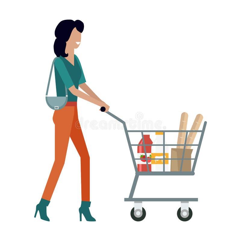 有购物车的妇女 向量例证