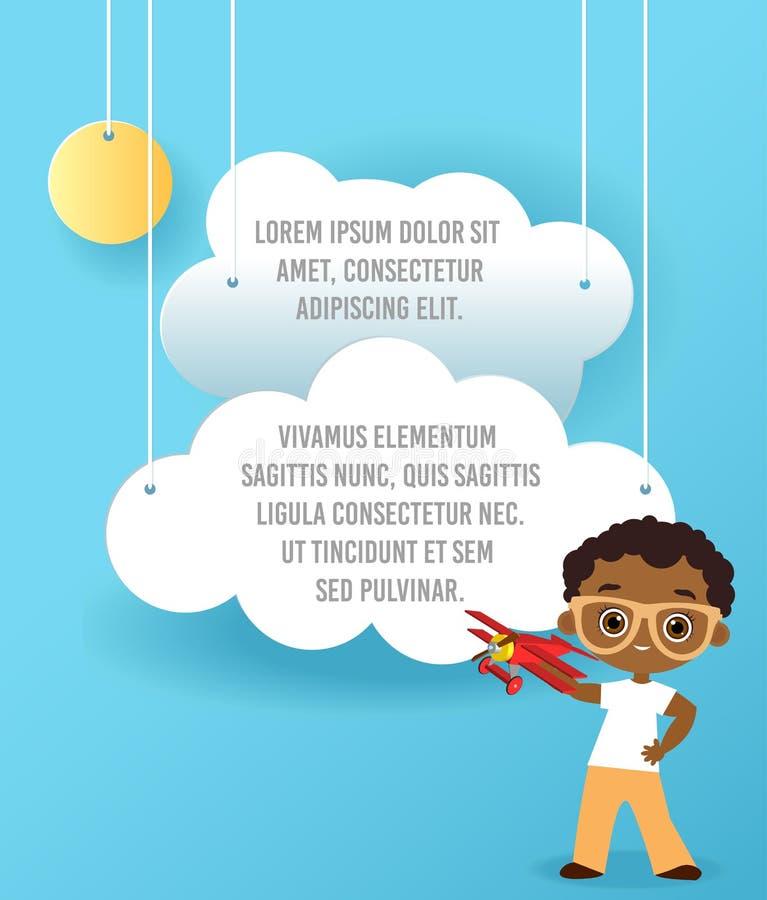 有玻璃和玩具飞机的非裔美国人的男孩 飞机男孩使用 导航云彩和飞机纸艺术在天空 Templa 皇族释放例证