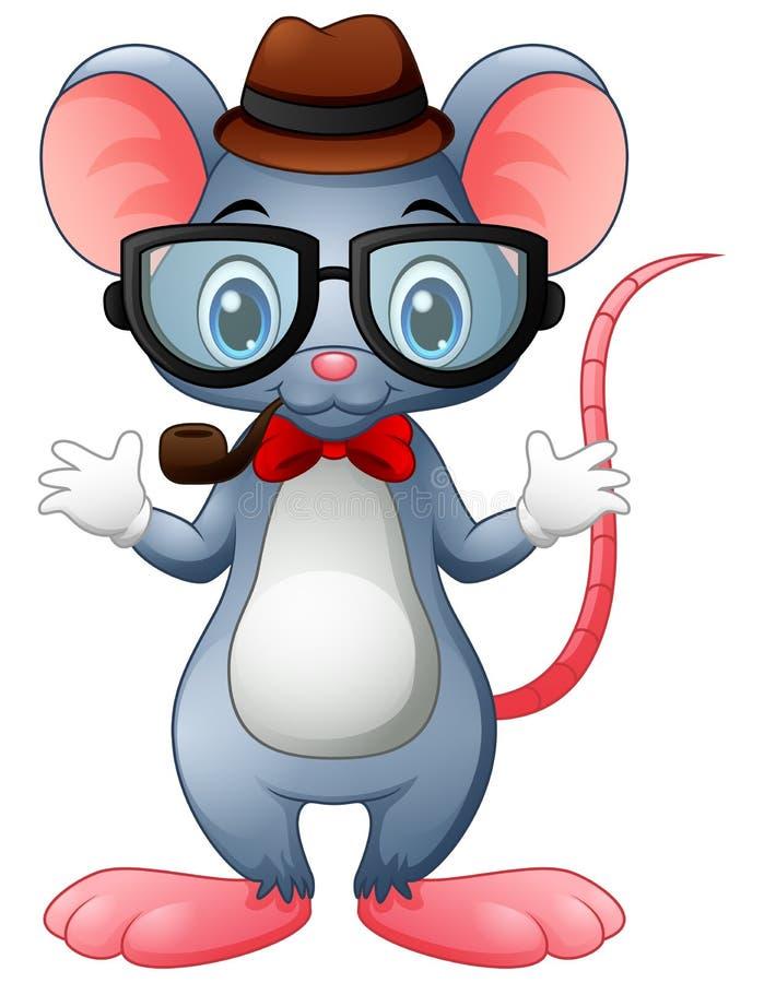有玻璃和蝶形领结的滑稽的老鼠行家 向量例证