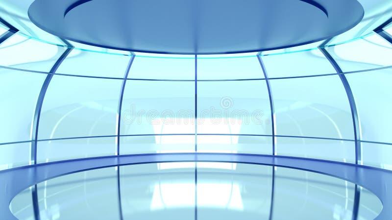 有玻璃墙的未来派大厅 皇族释放例证
