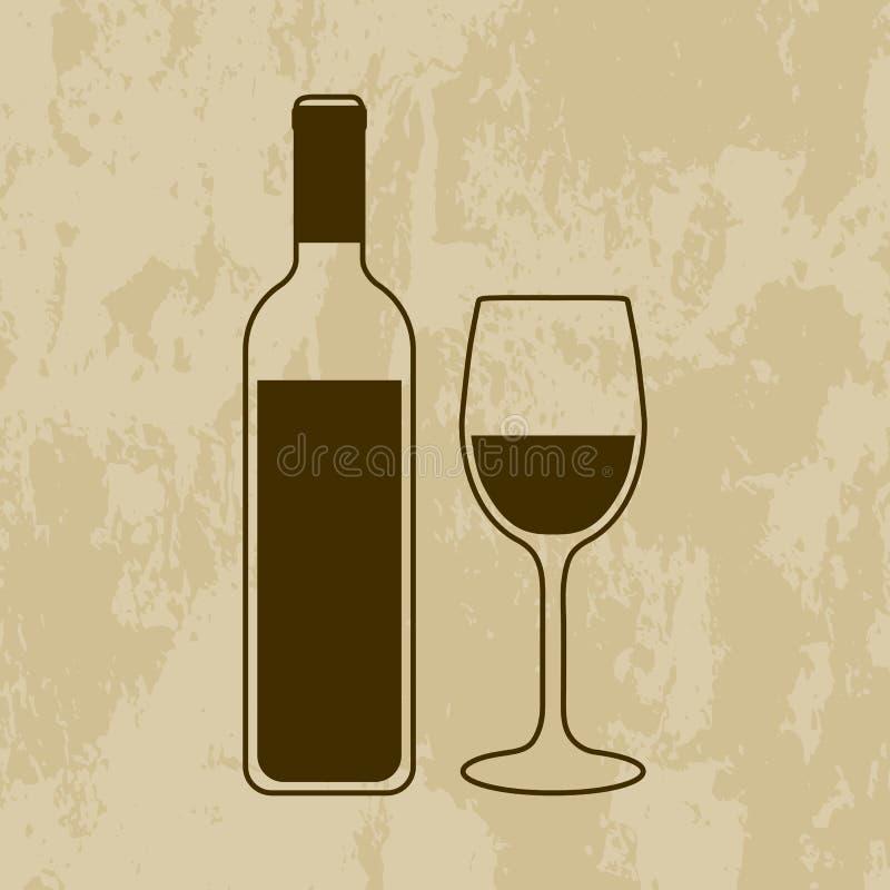 有玻璃的酒瓶在难看的东西 向量例证