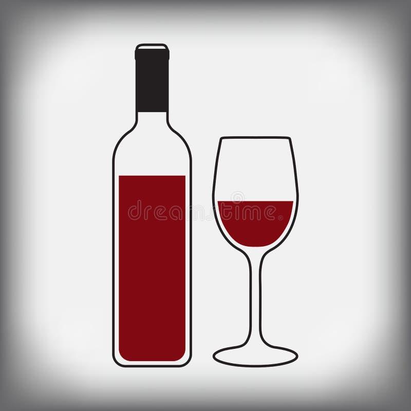 有玻璃的酒瓶 向量例证