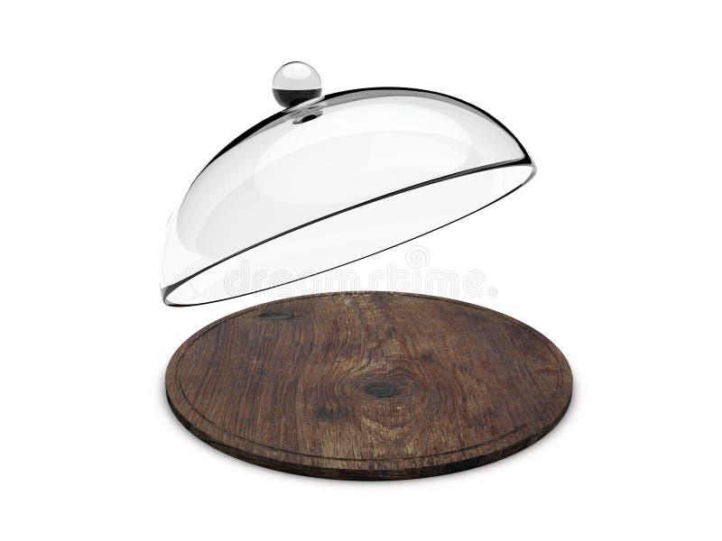 有玻璃盖的木盘子 向量例证
