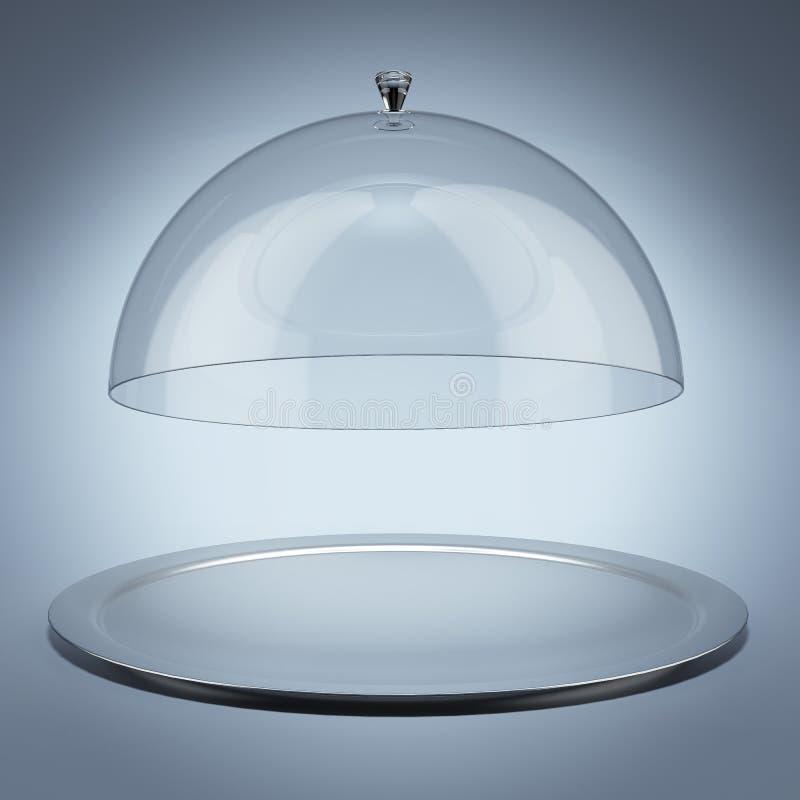 有玻璃盖的银色盘子 皇族释放例证