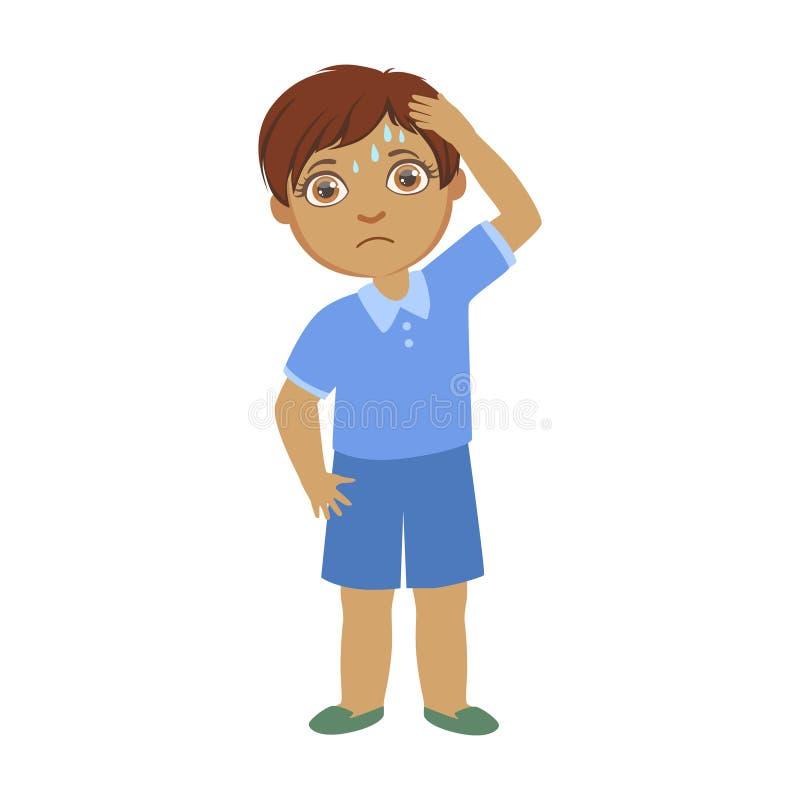 有头疼的男孩,感到病的孩子不适由于憔悴,一部分的孩子和健康问题系列  库存例证