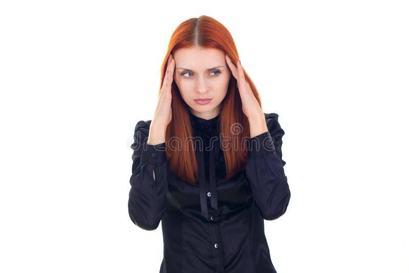 有头疼的红头发人妇女 免版税图库摄影