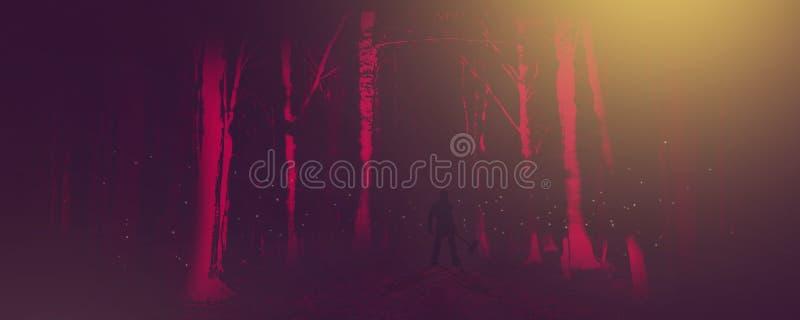 有轴的人在一个森林里在一个经典恐怖场面的晚上 向量例证