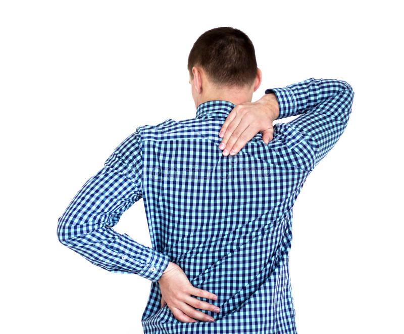 有年轻的人背部疼痛 在白色 库存图片