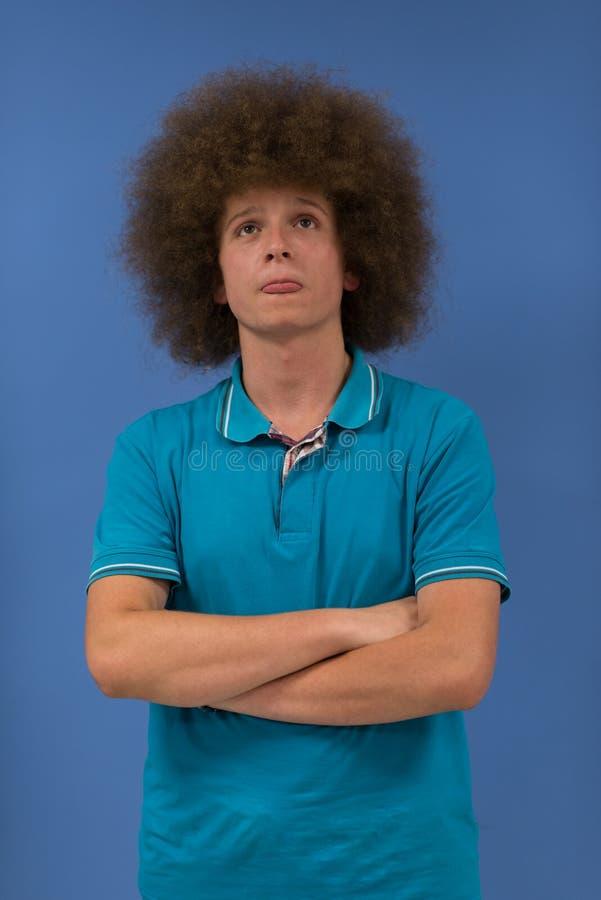 有质朴的发型的人 免版税库存照片