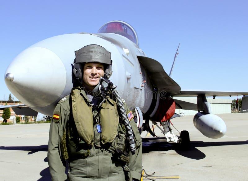 有他的喷气机的战斗机飞行员 免版税图库摄影