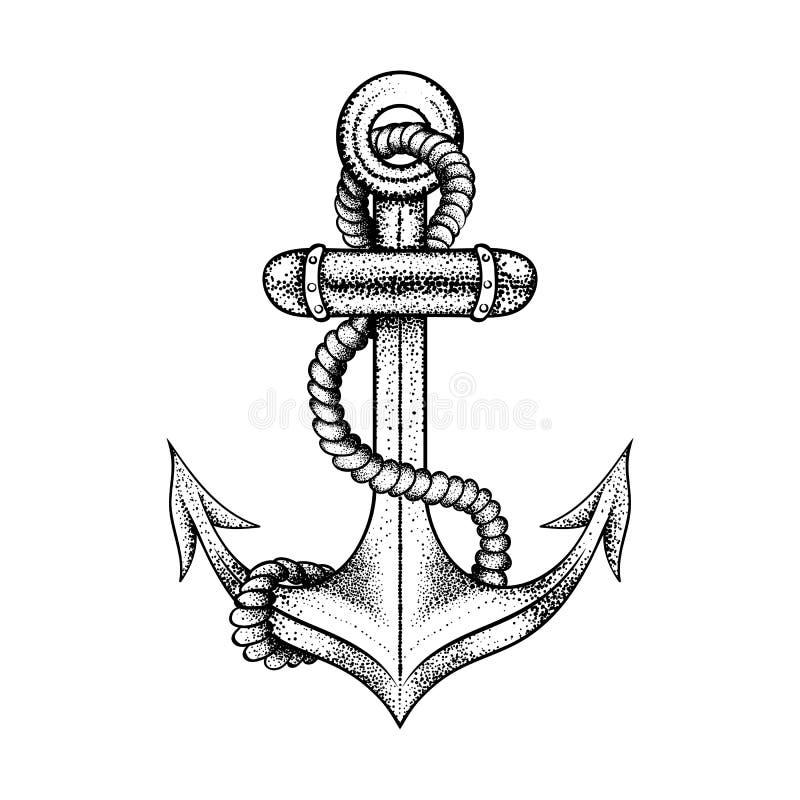 有绳索的手拉的典雅的船海锚,纹身花刺的黑剪影设计或t恤杉印刷品