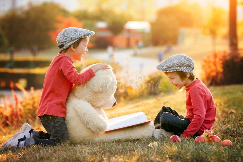 有他的玩具熊朋友的两个可爱的小男孩在公园 免版税图库摄影